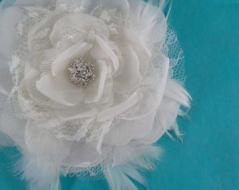Bridal Hair rose, Ivory Lace, Organza Feather Rose Hair Clip I212 - bridal wedding hair accessory