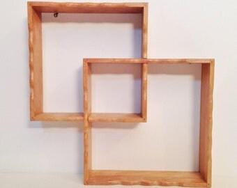 wood mid century box shelf - double cube shelf - interlocking wall shelf