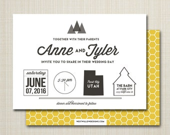 wedding invitation  modern wedding invitation minimal wedding invitation, custom wedding invitation - infographic.