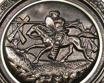 XL Victorian Button, Don Quixote storybook, man charging at windmills.