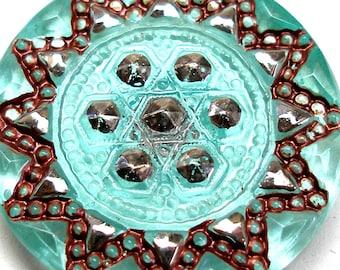XL Czech Glass button, Aqua Starburst, 33mm.