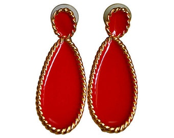 Napier Red Enamel Dangle Earrings