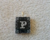 Initial P Black and White Fancy Scroll Scrabble Tile Wearable Pendant