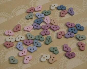 """Primitive Heart Buttons - Soft Pastel Colors - Bulk Hearts Button - 1/2"""" Wide - 40 Buttons"""