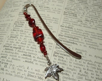 Maple Leaf Charm Tiny Red Beaded Bookmark
