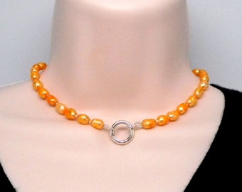 Discreet Slave Collar Hand Knotted Silk with Golden Yellow Freshwater Symbolic Collar with sterling silver clasp