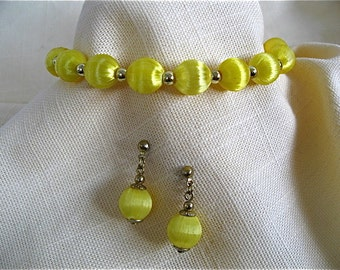 Vintage Yellow Bracelet and Earrings