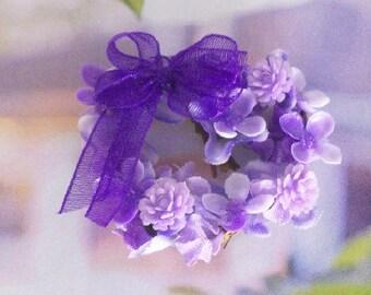 Purple Heart Wreath Lavender Periwinkle 1:12 Dollhouse Miniature Scale Artisan