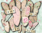 SHABBY BUTTERFLIES No. 2 Collage Digital Images -printable download file-