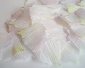 50 White with blush tips crepe paper flower petals, wedding decoration, scrapbook decoration, table decoration, flower girl flower petals