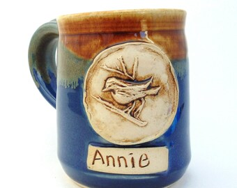 Make Your Own Name plus add a stamp Mug Personalized Pottery Mug