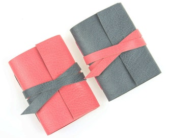 Mini Journal: Pink and Grey small leather notebook Mother's Day gift. Handmade in the UK, Ships worldwide Pastel Feminine gifts for her