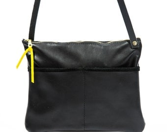 TIK Crossbody-  Black Leather Crossbody Bag with Double Front Pockets and Zipper Closure