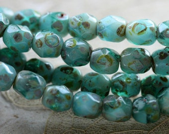 TEAL SEASHORE .. 50 Picasso Czech Faceted Glass Beads 4mm (4411-st)