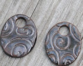 2 Black Adventure Oval Beads made of Pottery; earring pair of beads; ceramic beads, swirl pattern