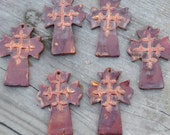 Pottery Cross PENDANT Bead in Copper Brown with a raised cross design