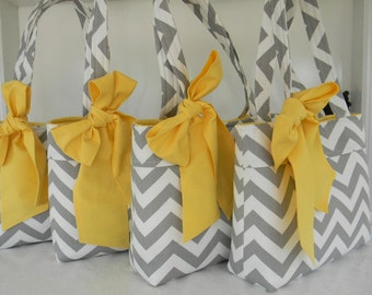 Gray Chevron Bridesmaids Tote Bags with Sash Bow  -  Set of Four and  Contrasting Solid Fabric Color of Your Choice