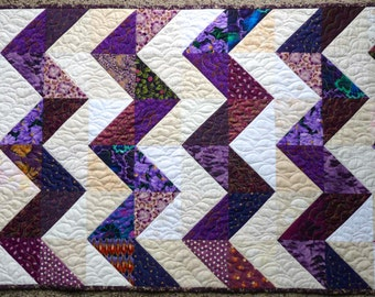 Quilted Table Runner, Purple Zig Zag Design