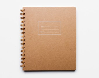 The Standard Notebook - letterpressed Kraft cover notebook with lined rule interior pages