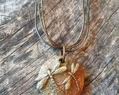 Bronze Dragonfly Lentil Bead Pendant