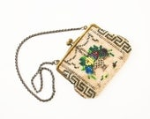 Victorian Beaded Bag, Tiny Purse,  Antique Coin Purse