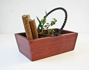 Wood Box, Primitive, Handmade, Wrought IronHandle