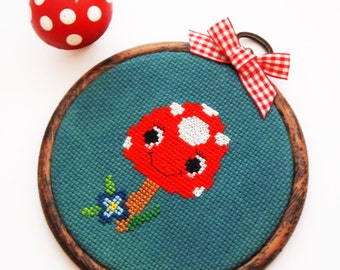 Marcella Mushroom 4 inch 11cm Cross Stitch-Ready to Hang-original design-Amanita muscaria-Kawaii Character Art-Child's Room-Woodland Theme