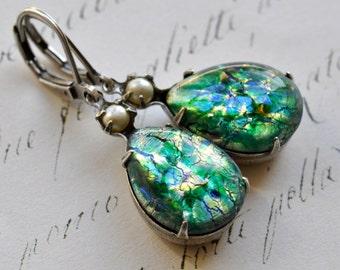 Green Opal Earrings - Vintage glass opals - Faux Pearls - Lever backs