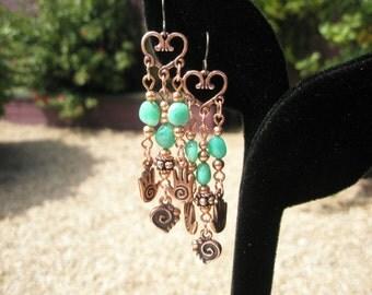 "Heart in Hands Earrings - Chrysoprase and Copper Earrings-  2 3/4"" - 1 pair"