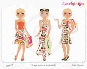 Tropical girl trio, shopping, beach, summer, digital PNG clip art (Grace 586)