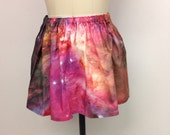 Galaxy Skirt sz M/L Nebula Print Cotton Celestial Universe
