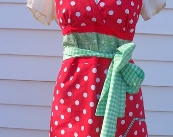SALE - Red and White Polka Dot Halter Top Apron