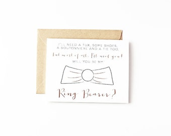 Bridal Party Invites Will You Be My Ring Bearer Card Eco Friendly Wedding Recycled Paper Greeting Cards Groomsman Ask Ring Bearer Gift