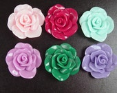 Cabochon Flower 2 or more Colorful Opaque CHOICE Resin Rose Flower Round Pendant Size 30mm (1014cab30m3)