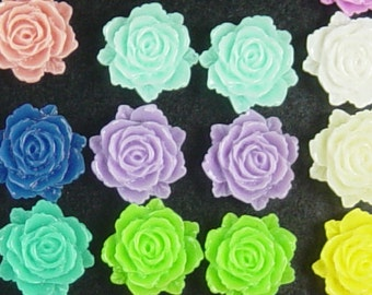 CLEARANCE Cabochon Flower 10 Resin Flower Opaque CHOICE 12mm x 11mm x 5mm thick Limited (1024cab12m3)os