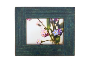 5x7 Wood Frame - Art Photo - Table Top Easel - Handmade Blue Paper - Mosaic - Thin Stripes - Picture Frame - Manly Decor - Wedding Gift