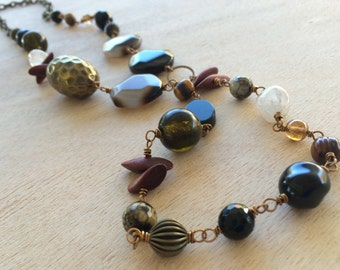 N170 Agate, Brass, Quartz and Wood Necklace