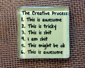 The creative process.... glass magnet