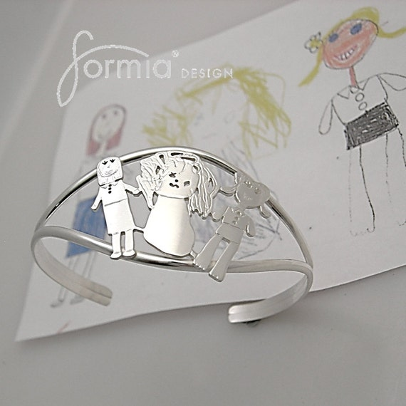 Your own art on a sterling silver cuff bracelet