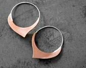 Damasque - Copper Hoop Earrings- copper earrings, sterling silver hoops, rose gold jewelry, made in Italy