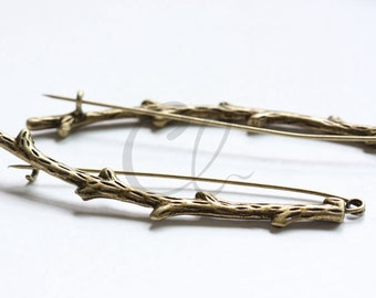 2pcs Antique Brass Tone Base Metal Brooch - Branch 85.5x18mm (19741Y-I-386)