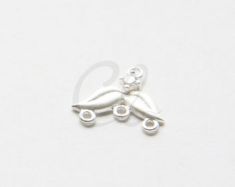 2pcs Premium Matte Silver Plated Brass Base Earring Findings - 1 to 3 Component with Rhinestone 15.4x13.4mm (1790C-L-7) Right
