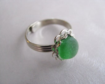 Emerald Green Beach Glass Jewelry - Green Sea Glass Ring - Beach Glass Ring - Adjustable Ring