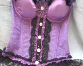 50% OFF - BUSTIER Corset Purple Boned Lace Rhinestones Pin up - Vintage Bustier Make Over - Purple and Black