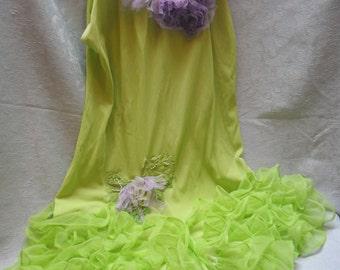 50% OFF - ROMPER Vintage 1960s Retro Pop Art - Vintage Romper - Leaf Green and Lavender