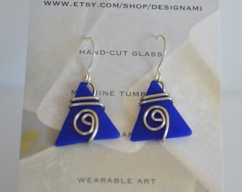 Wire wrapped tumbled glass earrings -cobalt blue tumbled glass wire jewelry -Beach lover- summer jewelry-Gift for her