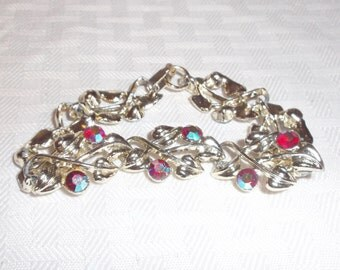 50s 60s Vintage Watermelon Rhinestone Bracelet with Gold Tone Leaves