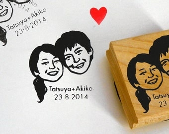 Wedding favors for guests Save the date Personalized gift Custom portraits stamp  / couple / self inking / stamper engagement gift ideas