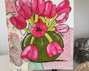 Mixed media, pink Tulips, Art, tulip painting, Original Mixed Media Art, Pink and Green