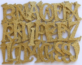 "1.5""  GOLD GLiTTER  Chipboard Letters Die Cuts /  Alphabet Diecuts - 1.5 inch"